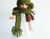 """Chunky Scarf & beanie set for American Girl dolls, 18"""" doll accessories, vibrant olive green fringed scarf and hat, winter doll accessory"""