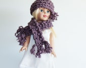 """Chunky crocheted beanie hat and scarf for american girl dolls and other 18"""" dolls, doll fashion accessory set, smoky violet fringed beanie"""
