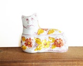 Cat Tureen, sad cat pottery dish, floral cat china, Vintage Cat Tureen with spoon slot