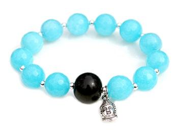 Buddha Charm Bracelet Aqua Faceted Agate Gems Black Bead Silver Zen Asian Flare Indian Buddhism Ancient Belief Spiritual Faith Mei Faith
