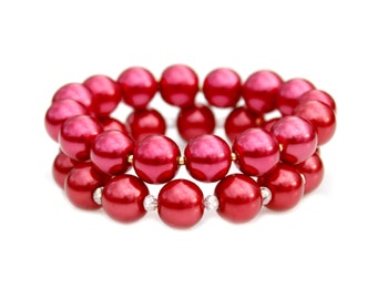 Cherry Red Pearl Bracelets Juicy Set of Two Apple Holly Cranberry Christmas Stacking Stretch Bracelets Festive Chic by Mei Faith
