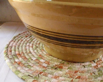 Sage Green, Peach and Rust Coiled Mat, Chair Pad, Hot Pad, Trivet - LARGE ROUND - Handmade by Me