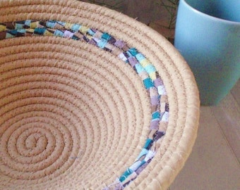 Tan  With Teal, Blue, Yellow and Brown Stripe Coiled Fabric Basket - Catchall for Your Keys, Change, Handmade by Me