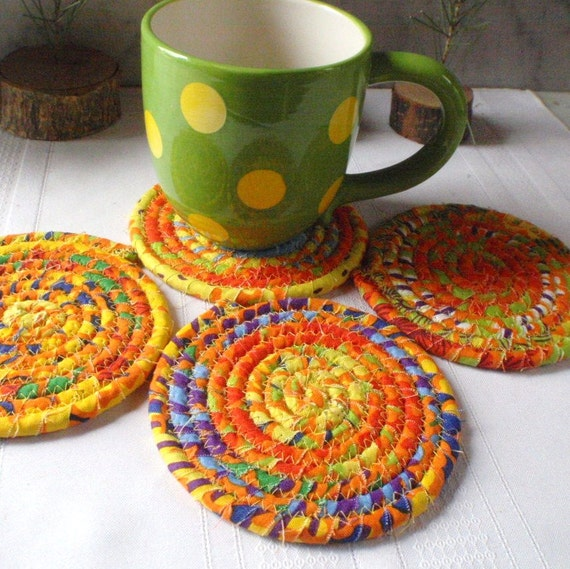 Coiled Fabric Coasters - Fun in the Sun - Set of 4, Housewares ...