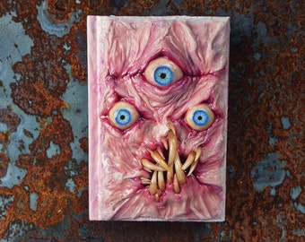 Small Necronomicon ex Mortis blank sketchbook with sculpted cover ooak