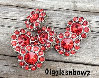 Ruby Red Rhinestone Buttons- 15mm Rhinestone Buttons-  You Choose Quantity- Headband Supplies- Diy Wedding- Brooch Bouquet- Sewing Button