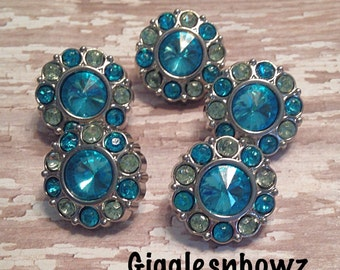 Sale Rhinestone Buttons- 5 Pc Turquoise / Yellow Acrylic Rhinestone Buttons 18mm Flower Centers, Diy Headband- Hairbow Supplies