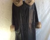 RESERVED Vintage Black Leather and Fur Coat