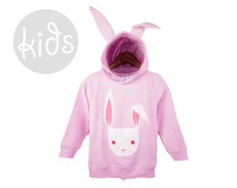 Geo Rabbit Hoodie - Pullover Fleece Hooded Long Sleeve Sweatshirt with Ears and Tail in Light Pink and Albino White - Baby & Toddler