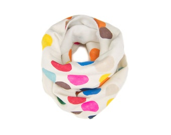 Colorful Confetti Infinity Scarf - Hand Printed Sweatshirt Fleece Circle Scarf in Cream and Multi Rainbow