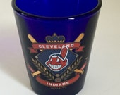 Shot Glass, Cleveland Indians, Cobalt Blue Glass, Souvenir