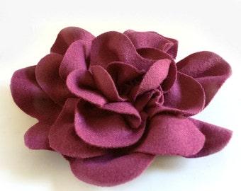Raspberry Felt Flower - Flower Brooch - Wool Felt Flower - Floral Hat Accessory - Flower Pin - Gift for Her - Pink Flower Pin - Pink Brooch