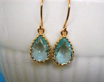 Aquamarine Earrings, Jewelry Sale, Petite Teardrop Earrings, Gold Earrings, Wife Gift, Girlfriend, Best Friend