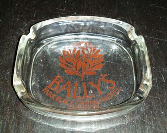 VINTAGE 1980s Bally's Park Place Casino Hotel Atlantic City Rectangular Glass Ashtray (Never Used As Such) Brown Tree Logo 4 Cigarette Spots