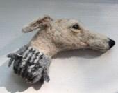 Needle Felted Greyhound/lurcher  Dog Brooch/Pin