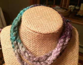 Blues and Purple Yarn Necklace
