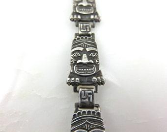 Circa 1923  Sterling Silver Indian Totem Link Bracelet