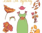 Clip Art Set - Love In Spring - For Personal Use - Digital Download of PNG Files