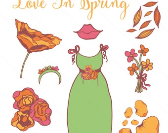 Clip Art Set for blogs, scrapbooking, printing at home - Love In Spring - For Personal Use - Digital Download of PNG Files
