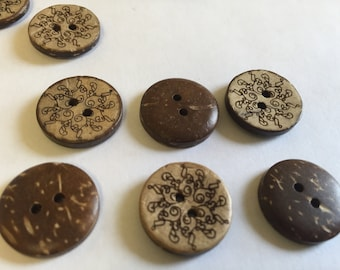 Coconut wood buttons - cool doodles design - 18mm (3/4 inch), 25 pcs, matching coconut wood buttons