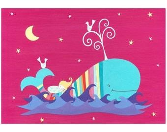 Nursery Art - art for children - baby gift - colourful wall art - whale art - 'THE MIDNIGHT WHALE' A4 - christening gift - rainbow art print