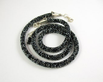 Silver, Black, Gray Bead Crochet Necklace