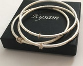 Sterling Silver and Gold Modern Minimalist Bangle