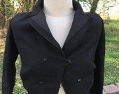 Antique Victorian Waist Coat Jacket Ladies Black Wool Riding/walking suit jacket