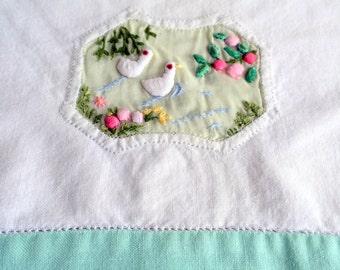 Vintage Tea Towel Linen Hand Trampunto Embroidered Dove Birds Unique Mint green