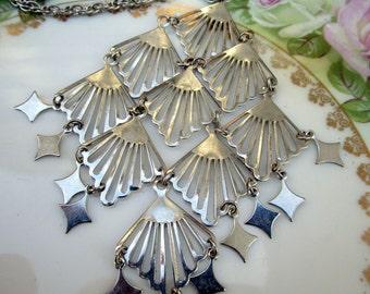 Vintage silvertone Large Statement dangle pendant with stars