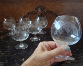 Vintage Mid Century Barware Set of 6 Etched Crystal Brandy Snifter Glasses