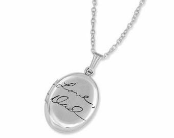 Personalized handwriting locket - Custom Handwriting - Signature Locket - Personalized gifts for her - Engraved Handwriting - Memorial Gift