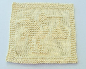 Stork and Baby, Yellow  Colored Handknit Dishcloth or Washcloth
