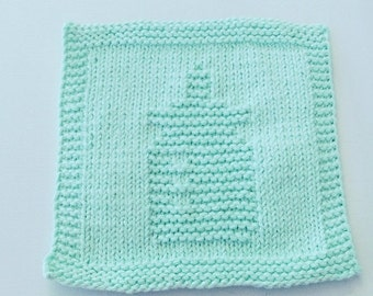 Baby Bottle Mint Green Colored Handknit Dishcloth or Washcloth