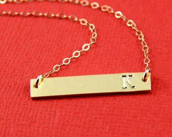 Bar necklace, Personalized Name Plate Necklace, Initial Bar Necklace