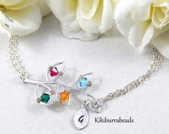 Personalized Mothers Bracelet, Birthstone Bracelet, Initial Bracelet, Leaf Bracelet, sterling silver