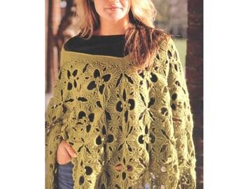 INSTANT DOWNLOAD PDF Vintage Crochet Pattern    Granny Square Leaf Poncho   Wrap Shawl  Retro