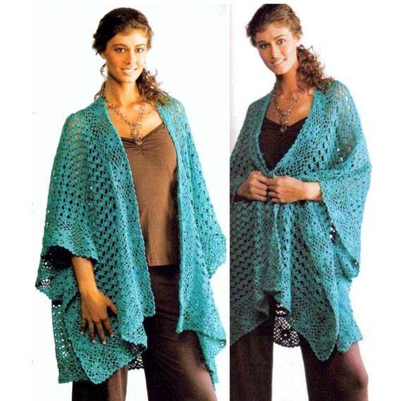 Vintage Crochet Pattern Ruana Shawl Shrug Cape Wrap Cloak