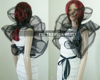 Cosplay Gothic Black Dramatic Net Collar Bolero Wrap Emo PUNK  Spider plastic web Perfect for costume photo prop