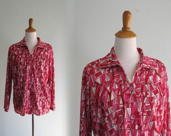 CLEARANCE Vintage 1970s Shirt - Pink and Red Pop Art Blouse - 70s Pucci Print Shirt L XL