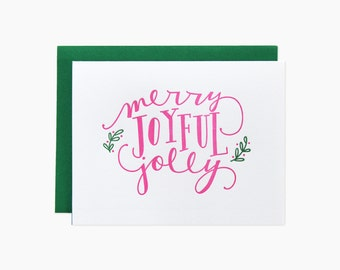 Merry Joyful Jolly Holiday Letterpress Card