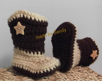 Crochet Cowboy Boots - newborn - tan and brown - ready to ship