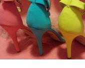 Pastel Colored Strappy Fur Heels / Pick your color fur/ Open toe fur shoes/ Build Your Own