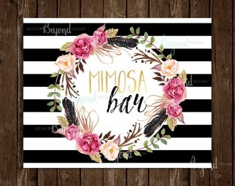 """Mimosa Bar Sign - 8""""x10"""" Black, White and Gold Striped Sign with Watercolor Floral Wreath - Instant Download JPEG"""