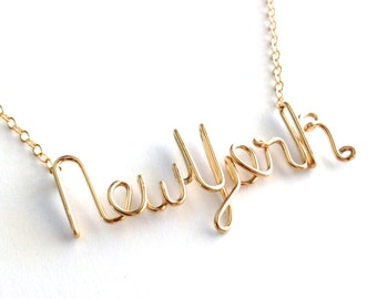 Gold New York Necklace. New York State Necklace. Custom State Necklace. I love new york necklace. new york city woman. urban chic necklace