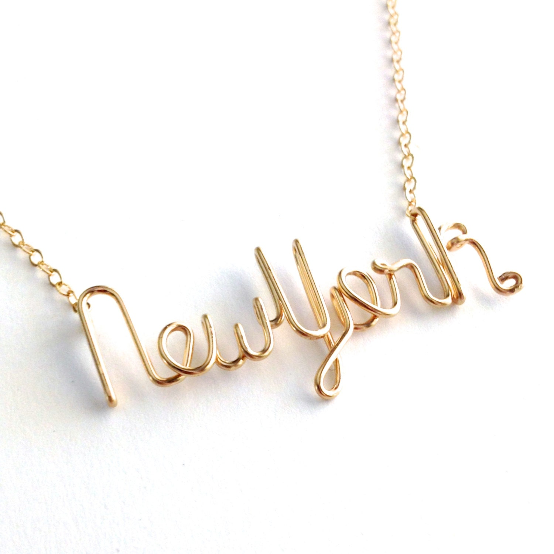 gold new york necklace new york state necklace custom state. Black Bedroom Furniture Sets. Home Design Ideas