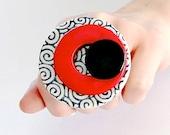 Statement Ring Adjustable,  big ring,  bold ring, ceramic ring, large ring, geometric ring, Studioleanne - 2.3 inch