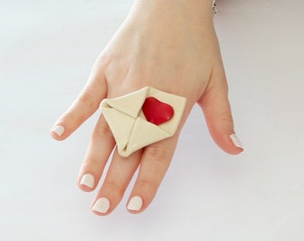 Statement Red Heart Letter Ring Handmade  - big ring, Valentines Day, statement ring, cocktail ring - StudioLeanne -  2.2 inch