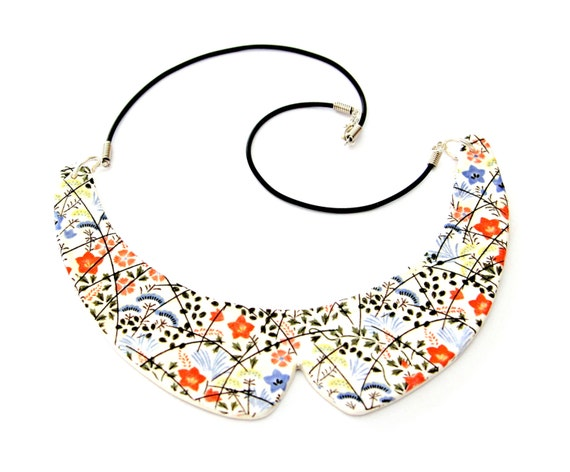Collar Necklace Ceramic - big necklace, statement necklace, Peter Pan necklace, bib necklace - StudioLeanne