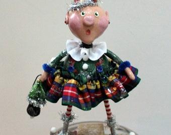Folk Art  Whimsical Christmas Holiday Elf  Collectible Art Doll